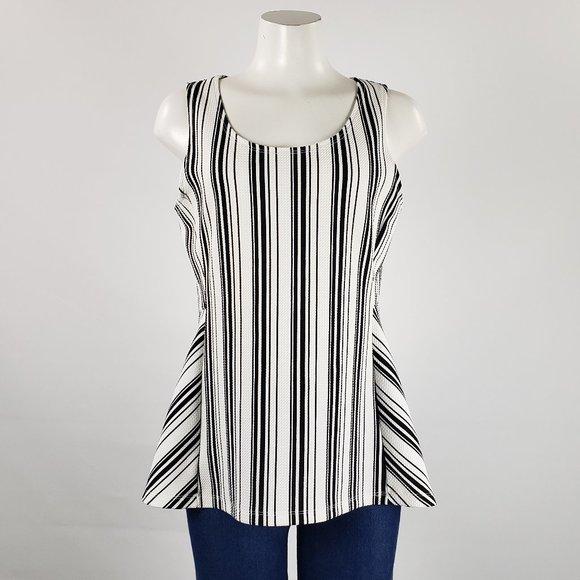 Ricki's Black & White Striped Top Size L